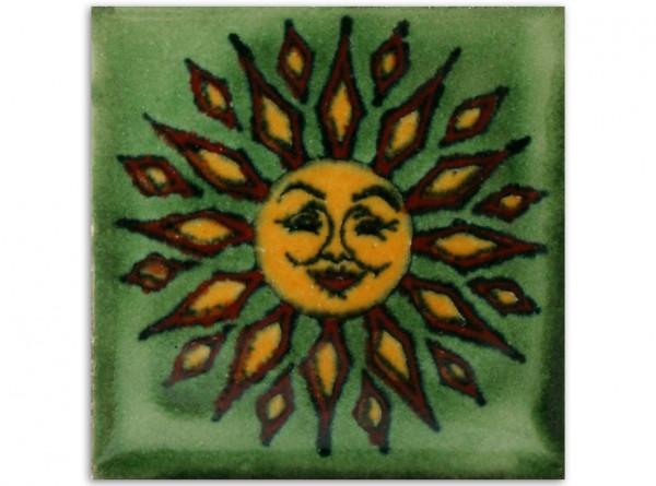 Dünne Serie: Fliese handbemalt, ca. 5x5cm, Sol fondo verde