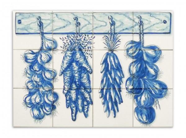 """Portugiesisches Fliesenbild, handbemalt, Motiv """"Ernte Blau-Weiß"""", 56x42cm"""