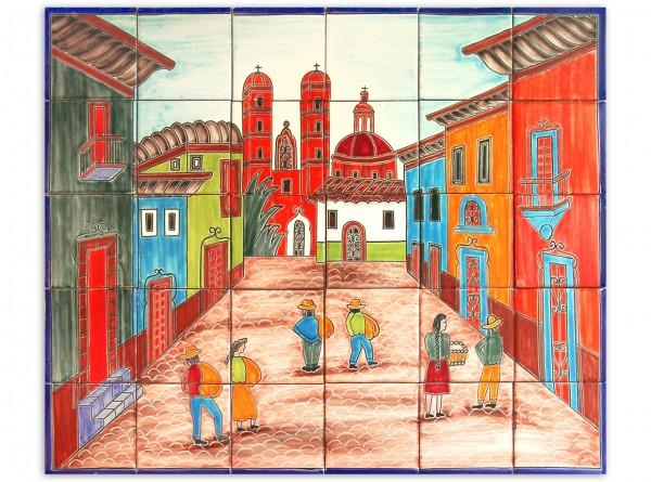 Mexikanisches Fliesenbild, handbemalt, Motiv Dorfplatz, 63x53cm, Rand blau