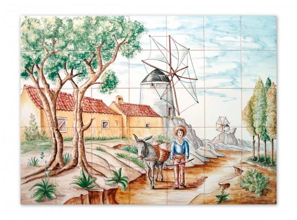 """Portugiesisches Fliesenbild, handbemalt, Motiv """"Farmer"""", 98x70cm,"""