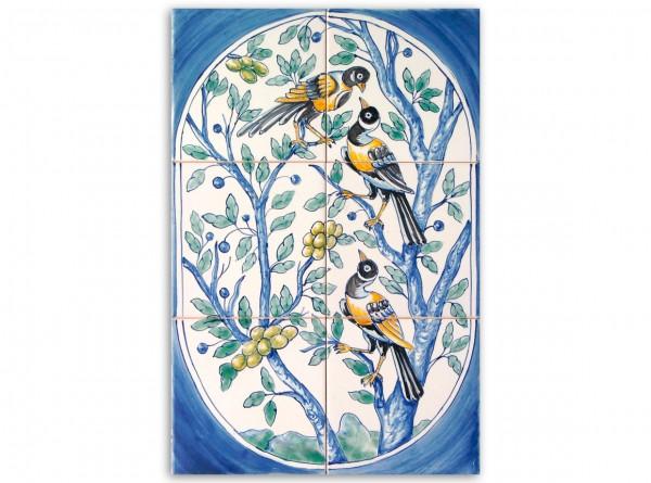 "Port. Fliesenbild, handbemalt, Motiv ""Vögel im Oval"", 28x42cm"