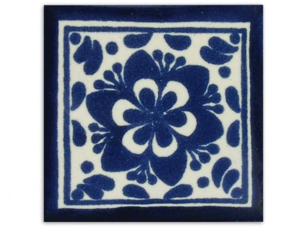 Dünne Serie: Fliese handbemalt, ca. 5x5cm, Jardin azul