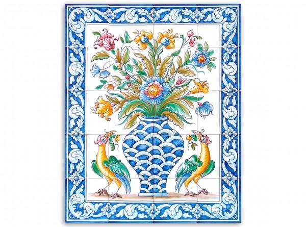 "Port. Fliesenbild, handbemalt, Motiv ""Vase und Vögel, bunt"", 56x70cm,"