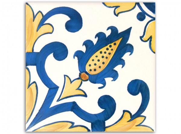 "Dekorfliese ""Lorvao"", Handbemalt, 14 x 14 cm"