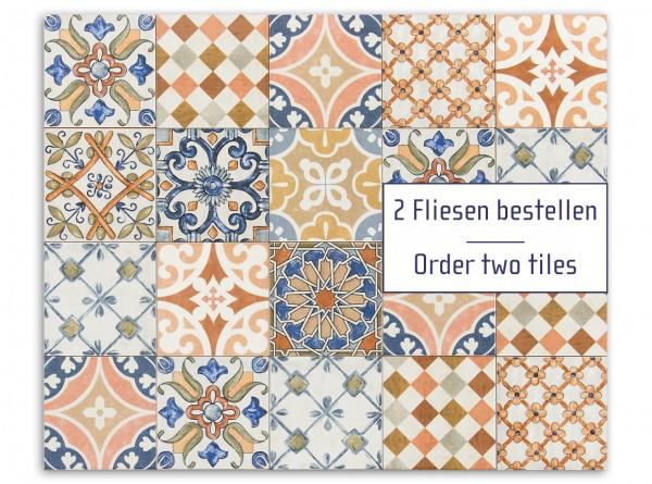 """Musterfliesen-Set """"Calabria Dekor Regionale"""", 15x15 cm (Spanien), 2 Fliesen"""