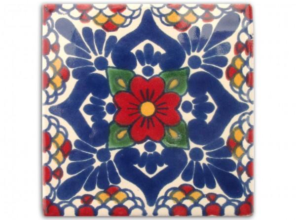 """Fliese """"Gardenia"""", handbemalt, ca. 10x10cm, Mexiko"""