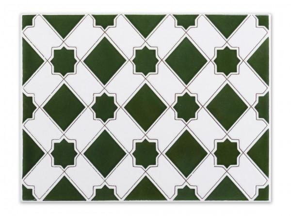 "Spanische Wandfliese ""Zocalo Estrella Verde M-13"", 15x20 cm"