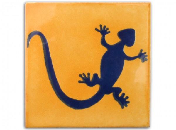 "Fliese ""Gecko Sonnengelb"", handbemalt, ca. 10x10cm, Mexiko"