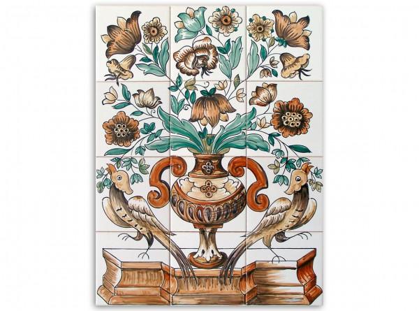 """Portugiesisches Fliesenbild, handbemalt, Motiv """"Vase und Vögel, braun"""", 42x56cm"""