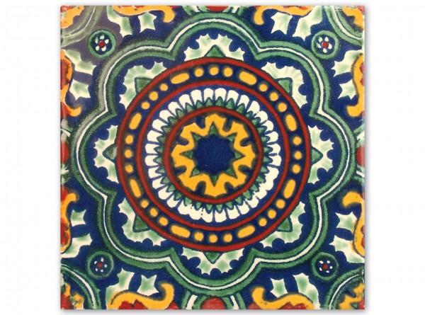 """Fliese """"Rosario"""", handbemalt, ca. 10x10cm, Mexiko"""