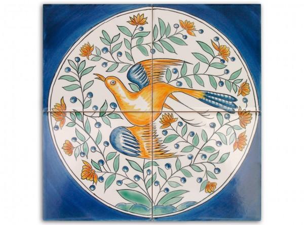 """Port. Fliesenbild, handbemalt, Motiv """"Vögel im Kreis, blau"""", 28x28cm"""