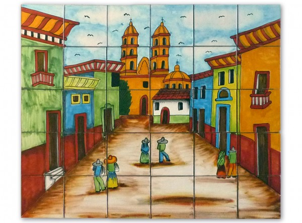 Mexikanische Fliesenbild, handbemalt, Motiv Dorfplatz, ca. 63x53cm, ohne Rand