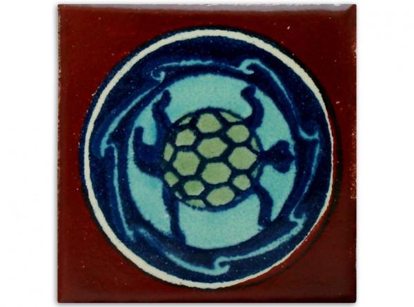 Dünne Serie: Fliese handbemalt, ca. 5x5cm, Tortuga klein