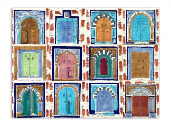 """Tunesisches Fliesenbild """"Türmotive brauner Rand"""", 60x45 cm"""