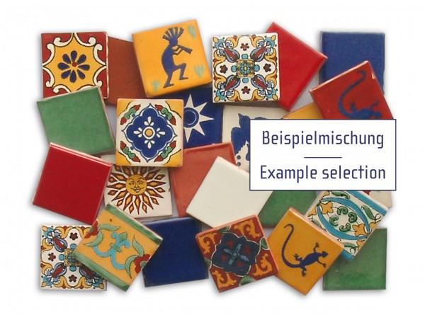 25 mexikanische Fliesen, bunte Mischung, je ca. 5x5 cm, B-Ware, Pauschalpreis