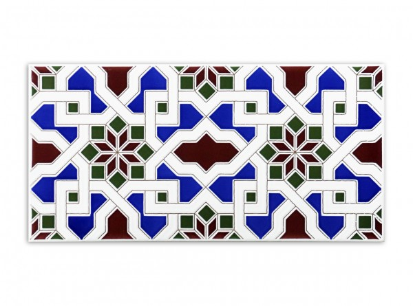 """Spanische Wandfliese """"Zocalo Petunia Blau"""",14x28 cm"""