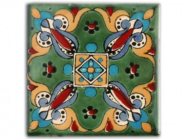 "Fliese ""Arely Verde"", handbemalt, ca. 10x10cm, Mexiko"