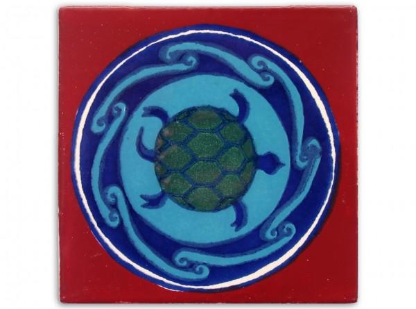 "Fliese ""Tortuga"", handbemalt, ca. 10x10cm, Mexiko"