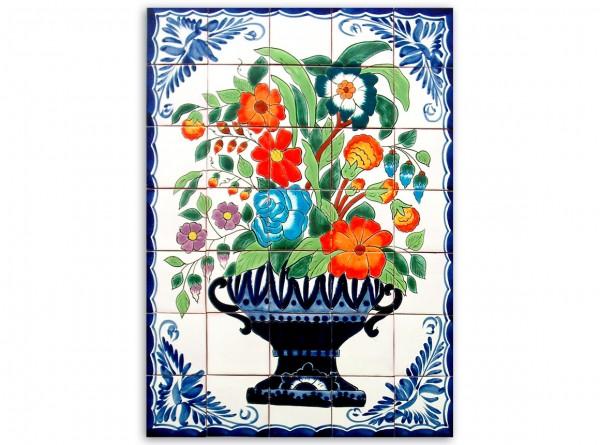 Mexikanisches Fliesenbild, handbemalt, Motiv Blumenschale, 55x77cm, Rand blau