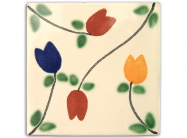 "Fliese ""Tulipanes"", handbemalt, ca. 10x10cm, Mexiko"