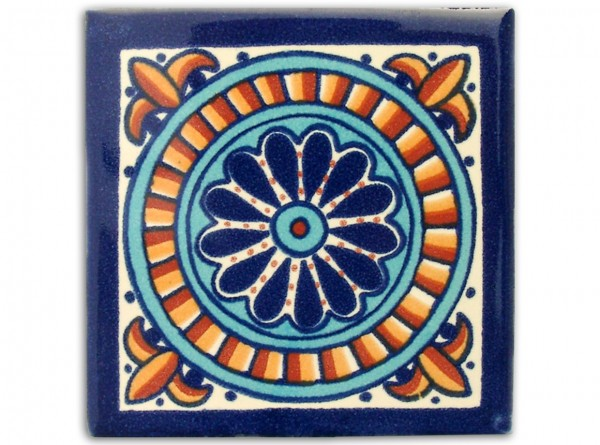 "Fliese ""Granada"", handbemalt, ca. 10x10cm, Mexiko"