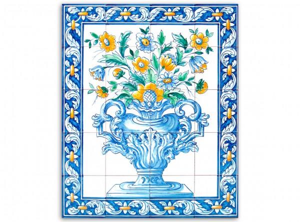 """Portugiesisches Fliesenbild, handbemalt, Motiv """"Vase bunt"""", 56x70cm,"""