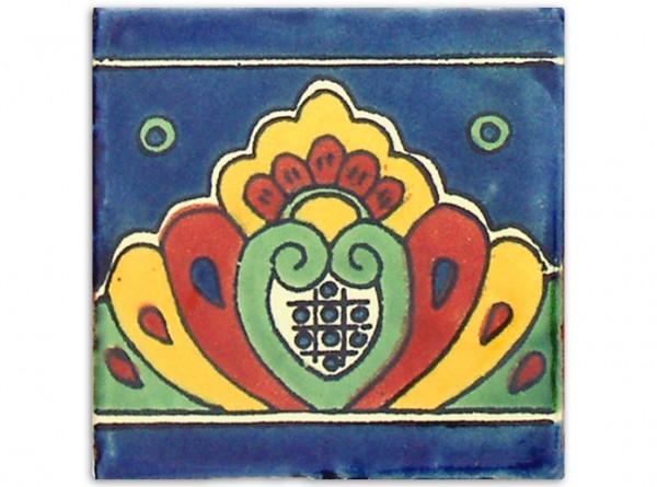 """Fliese """"Rio Azul"""", handbemalt, ca. 10x10cm, Mexiko"""