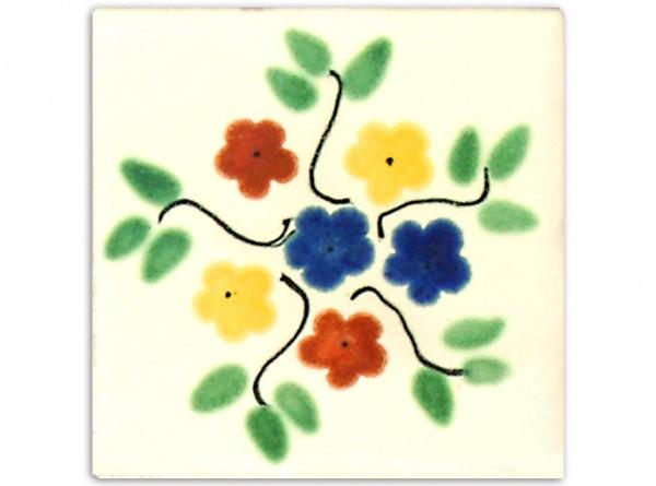 "Fliese ""Bouquet"", handbemalt, ca. 10x10cm, Mexiko"