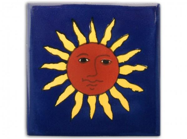 """Fliese """"Sol"""", handbemalt, ca. 10x10cm, Mexiko"""