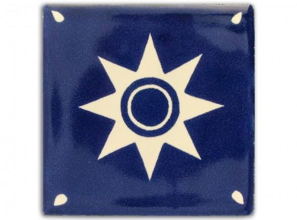 "Fliese ""Estrella Azul"", handbemalt, ca. 10x10cm, Mexiko"