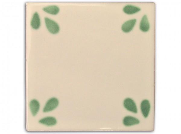 "Fliese ""Bellis grün"", handbemalt, ca. 10x10cm, Mexiko"