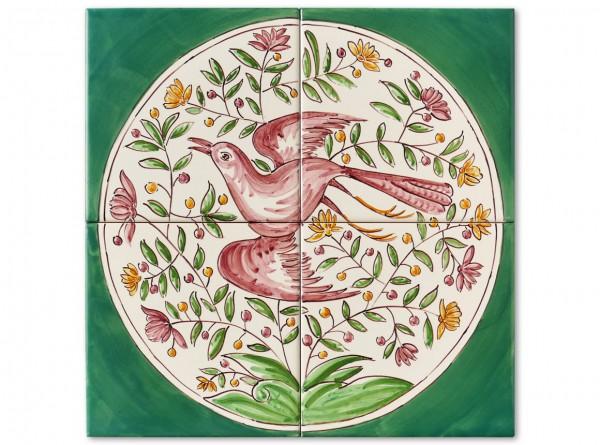 """Port. Fliesenbild, handbemalt, Motiv """"Vögel im Kreis, grün"""", 28x28cm"""