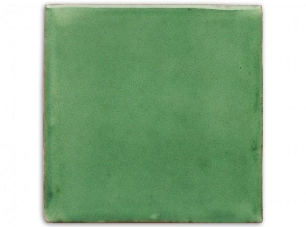 """Mexikanische Fliese, handbemalt, einfarbig """"Grün gewaschen"""", ca. 10x10cm"""