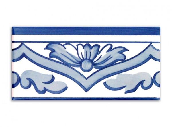 "Bordürenfliese aus Portugal, ""Lagos"", Handbemalt 7x14 cm"