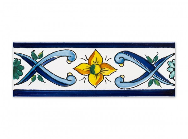 """Spanische Bordüre """"Cenefa Manas Azul"""" 5x15 cm, handbemalt"""