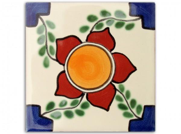 "Fliese ""Flor Grande"", handbemalt, ca. 10x10cm, Mexiko"