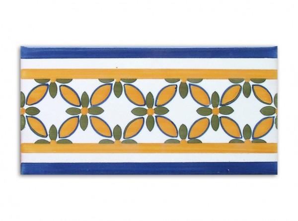 "Bordürenfliese aus Portugal, ""Maia"", Handbemalt 7x14 cm"