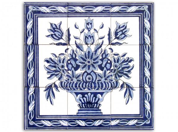 """Tunesisches Fliesenbild """"Vase Blumen Blau-Weiß"""", 60x60 cm"""