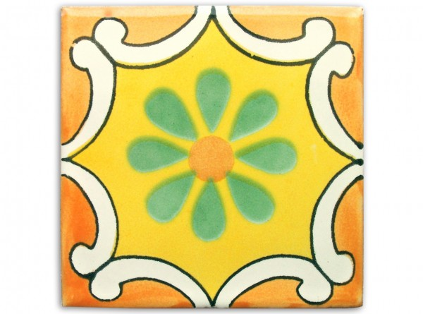 "Fliese ""Arabesque Mango"", handbemalt, ca. 10x10cm, Mexiko"