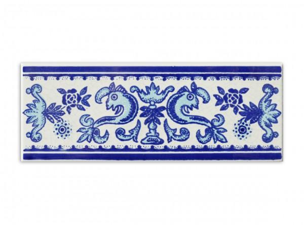 "Spanische Bordüre ""Cenefa Cuarteo Azul"" zu Cuarteo, 7x20 cm"