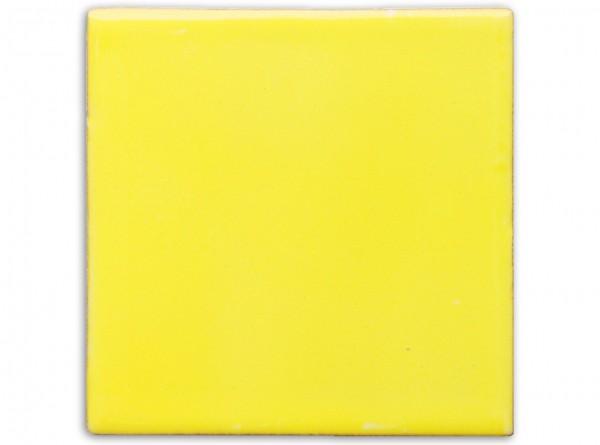 """Mexikanische Fliese, handbemalt, einfarbig """"Gelb gewaschen"""" ca. 10x10cm"""
