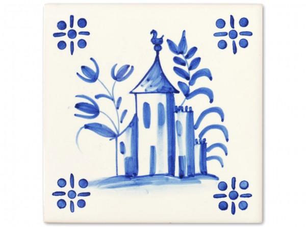 """Motivfliese """"Schloss"""" zur Dekorfliese """"Braga"""", Handbemalt, 14x14 cm"""