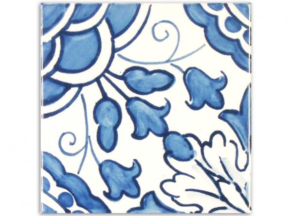 """Dekorfliese """"Goa hellblau"""", Handbemalt, 14x14 cm"""