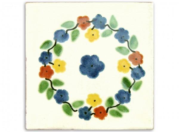 """Fliese """"Bouquet Rund"""", handbemalt, ca. 10x10cm, Mexiko"""