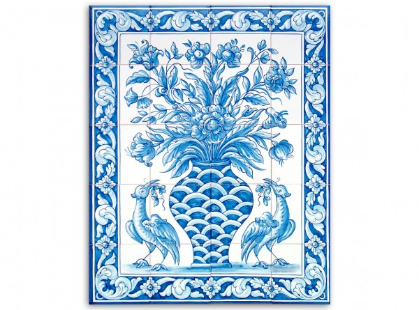 "Port. Fliesenbild, handbemalt, Motiv ""Vase und Vögel, blau-weiß"", 56x70cm"
