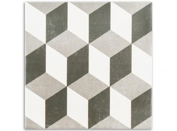0,5 qm Black & White Kubus, Serie Cementum, span. Bodenfliesen 15x15