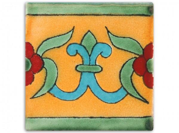 Dünne Serie: Bordürenfliese handbemalt, ca. 5x5cm, Lilia Mango, Gelblich