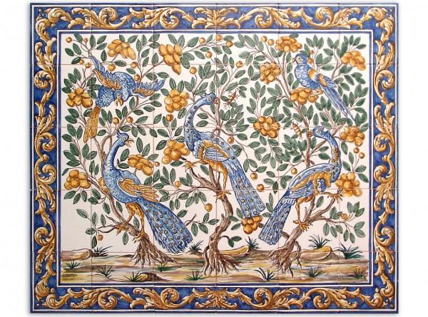 """Portugiesisches Fliesenbild, handbemalt, Motiv """"Pfaue"""", 84x70cm"""