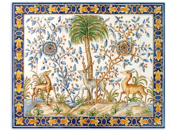 """Portugiesisches Fliesenbild, handbemalt, Motiv """"Rehe und Palme"""", 84x70cm"""