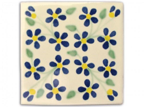"Fliese ""Violets"", handbemalt, ca. 10x10cm, Mexiko"